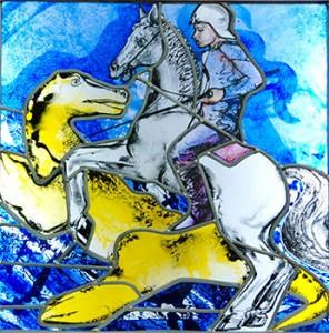 Sint-Joris te paard - glas in lood ontwerp Raph Huet